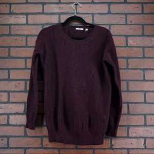 UNIQLO Ribbed Knit Sweater Red Black Chunky Wool